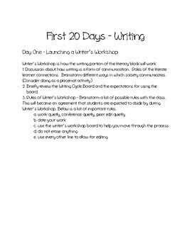 First 20 Days - Reading Workshop & Writing Workshop (Bundled)