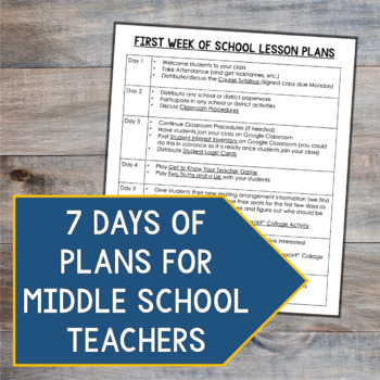 First Week of School Plan for Middle School by Mr and Mrs