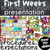 First WEEKS non-negotiable procedures and expectations presentation bundle