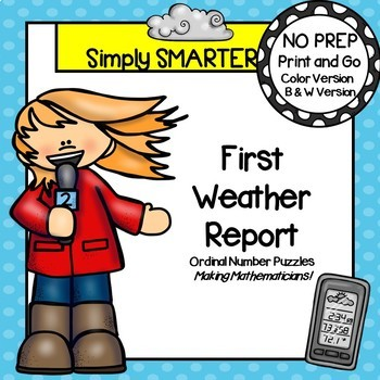 NO PREP Weather Themed Ordinal Number Puzzles