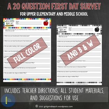 Secondary First Week Activities Student Survey