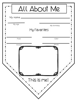 First Week Activities: All About Me Pennant Booklet and Art