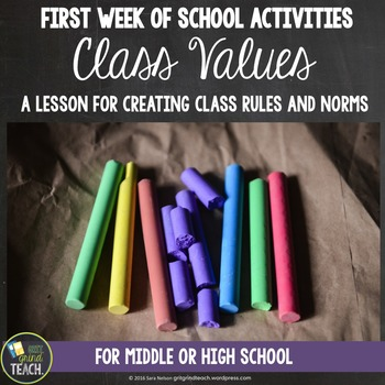 First Week Activities: Secondary: Creating Class Values