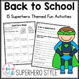 First Week of School Superhero  Activities