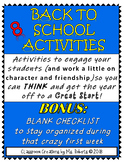 First Week, Character, Friendship Building Activities & BO