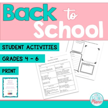 1st Week Activities - Back To School, Get to Know Your Students