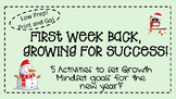 First Week Back From Winter Break Growth Mindset Pack Elementary