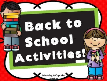 First Week Back! Start of School Activities!
