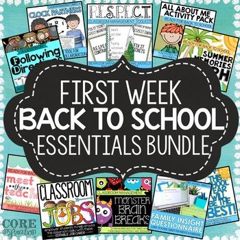 First Week Back To School Classroom Essentials Bundle