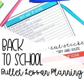 First Week Back to School Checklist & Digital Stickers