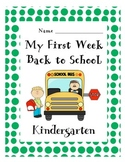 First Week Back to School Packet- Kindergarten