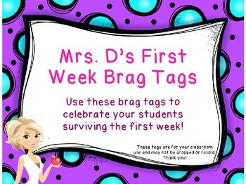 Brag Tags - First Week of School