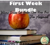 First Week Bundle-Welcome Screens, Open House Prezi, Sub Binder, & Assignments