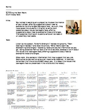 Great first day of school activity: Essay on Teenage Issues (Common Core Ready)