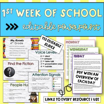 First Week Fourth Grade