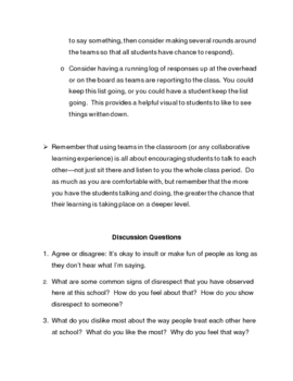First Week Ideas: Discussion Questions