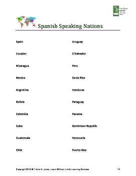Beginning Spanish: Dictionary, Geography, Getting to Know You, Colors, Numbers
