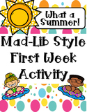 First Week Mad Lib Style Activity