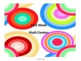 First Week Math Centers