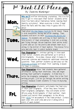 First Week of School Math and ELA Lesson Plans