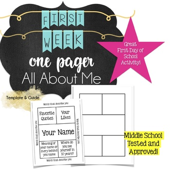 First Week Middle School Relationship Building Activity: All About Me One Pager