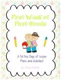 First Week Of First Grade for the Last Minute Teacher, Fir