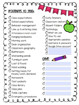 First Week Procedures Checklist