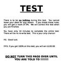 First Week - Teacher Test
