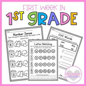First Week in 1st Grade- NO PREP BTS Reading, Writing, and Math Activities