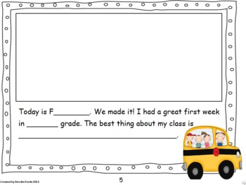 First Week in First Grade Writing Journal