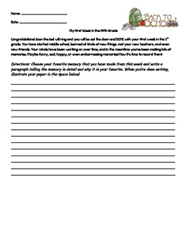 First Week in the 5th Grade Reflective Writing