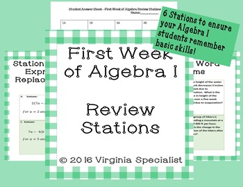 First Week of Algebra Review Stations