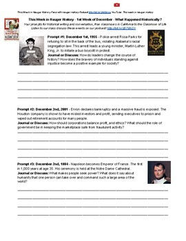 First Week of December What Happened in History Writing Prompts and Journals