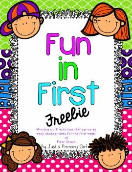 First Week of First Grade Activity & Assessment Pack - Freebie