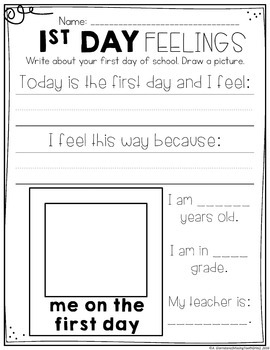 First Week of First Grade No Prep Printables