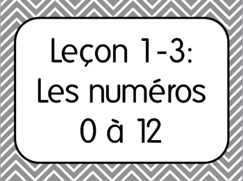 First Week of French I Lesson 3: Numbers/Les numeros 0-12