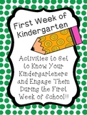 First Week of Kindergarten Activities (To Get to Know Them