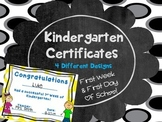 Kindergarten Certificates for the first day and first week of school