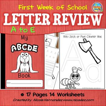 First Week of School - Kindergarten  {Letter Review 'a' to 'e'}