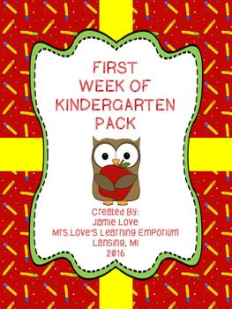 First Week of Kindergarten Pack