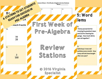 First Week of Pre-Algebra Review Stations