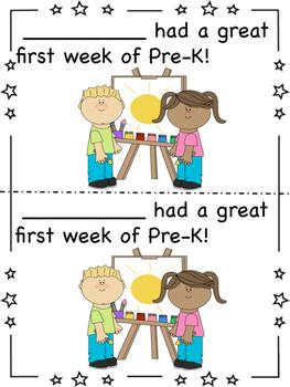 First Week of Pre-K Certificates