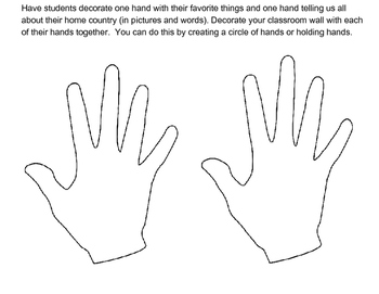 First Week of School (About Me) Hands Together Activity  ESL ELL ELD EFL