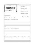 First Week of School About Me Worksheet