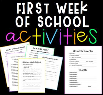 First Week of School Activities