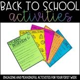 First Week of School Activities - Back to School