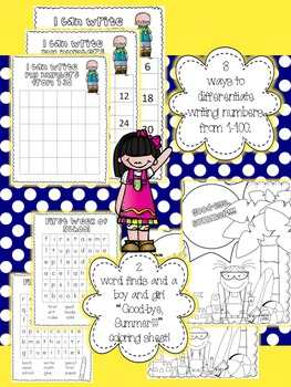 First Week of School Activities: Writing, Counting, Letters, and a Student Book