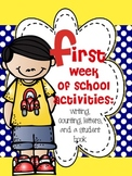 First Week of School Activities: Writing, Counting, Letter