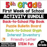 First Week of School Activities 5th Grade | Back to School Activities