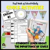 First Week of School Activities for Civics
